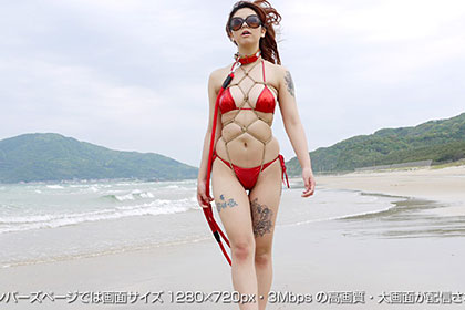 SM-【1/3】in海岸!大胆エロボディにマイクロビキニ緊縛姿でヨダレを垂らすメス犬!芹沢雅 21歳