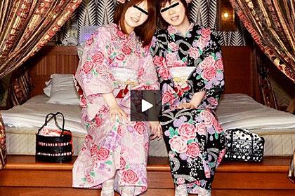 レズフェティシズム うれし恥ずかし♪ キュートな浴衣姿の女子高生 サキ&藍那