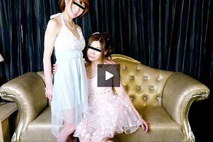 レズフェティシズム 披露宴帰りのドレスが似合う美麗レズカップル クルミ&クミ